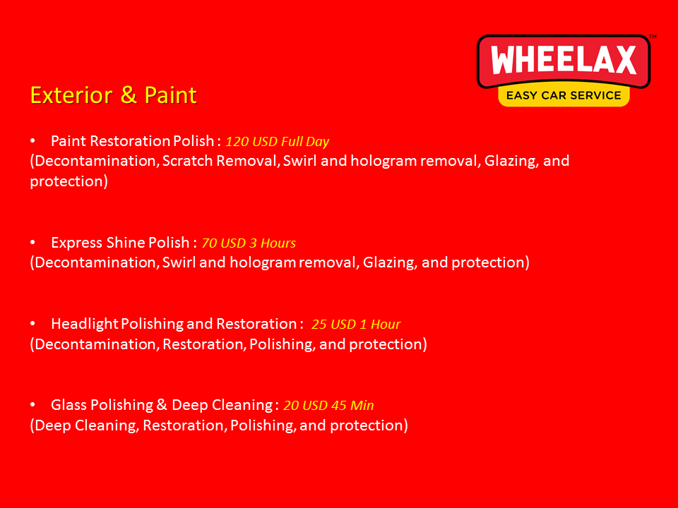 Wheelax Cleaning Prices