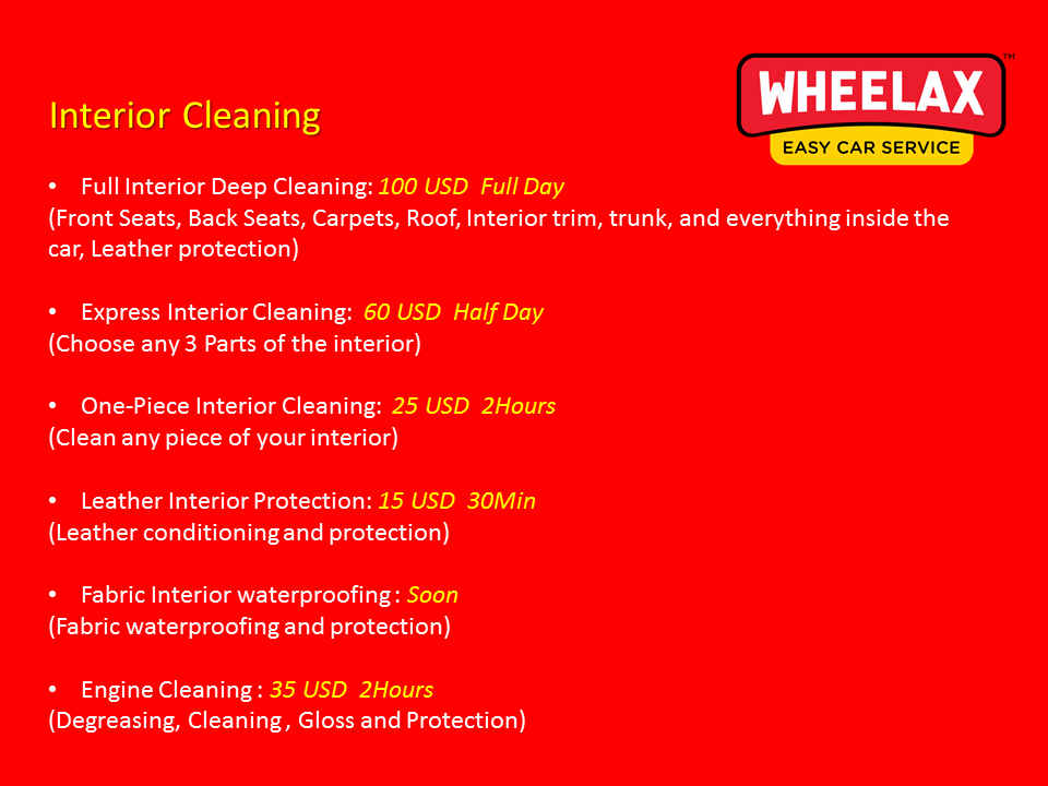 Wheelax Interior Cleaning Prices